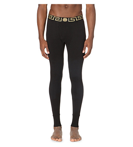 VERSACE Iconic stretch-cotton long john (Black+gold