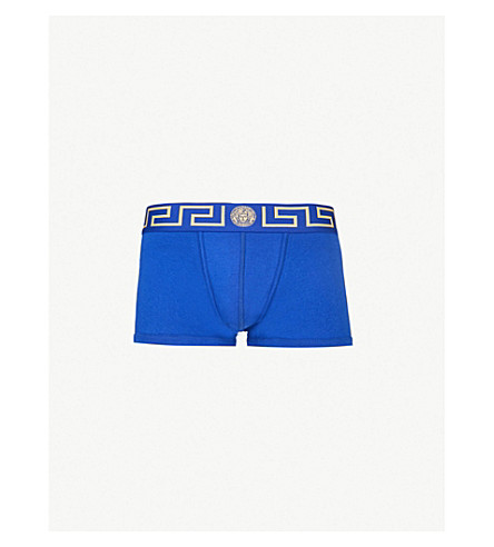 VERSACE Iconic low-rise branded stretch-cotton trunks (Bluette