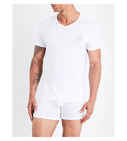 VERSACE Iconic stretch-cotton T-shirt (White