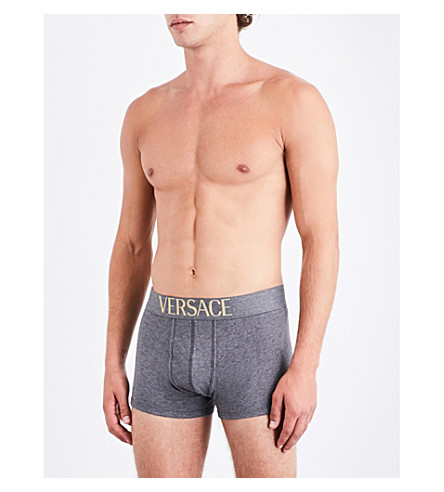 VERSACE Apollo slim-fit stretch-cotton trunks (Grey