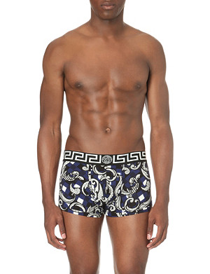 VERSACE Iconic printed stretch-jersey trunks