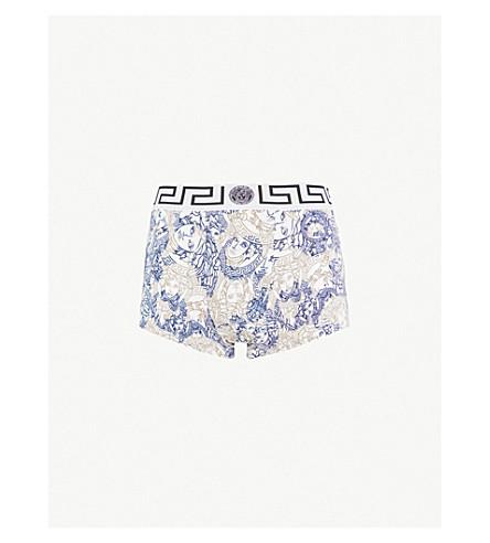 VERSACE Medusa-print slim-fit jersey trunks (Wht+blue