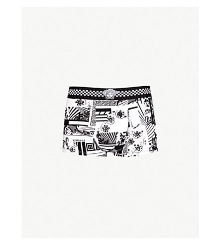 VERSACE 徽标打印拉伸-棉树干 (黑色 + 白色