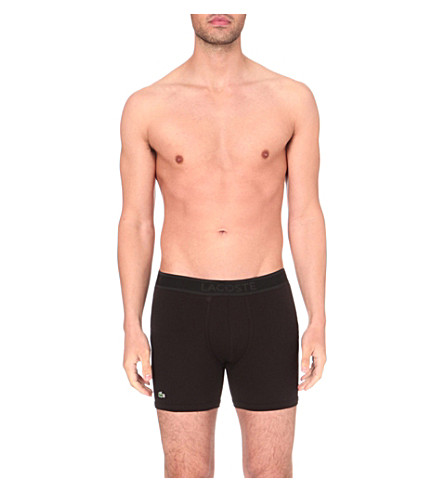 LACOSTE Piqué cotton-blend boxer briefs (Black