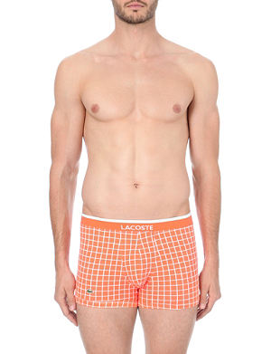 LACOSTE Pack of two plain and print stretch-cotton trunks