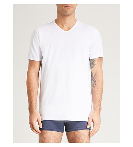 LACOSTE Pack of two V-neck cotton-jersey T-shirt (White
