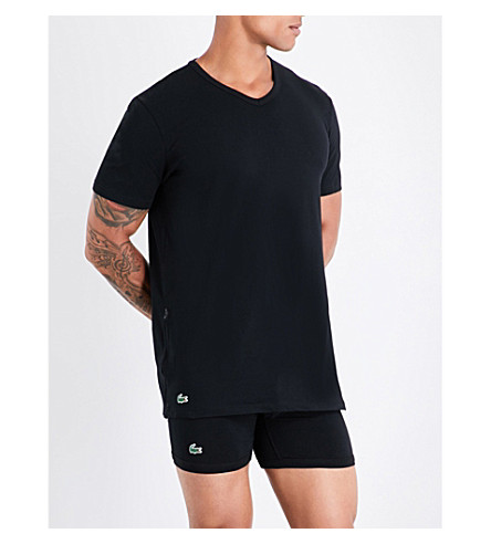 LACOSTE Pack of two cotton-jersey T-shirts (Black