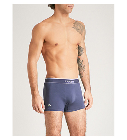 LACOSTE Pack of three slim-fit cotton-jersey trunks (Blues