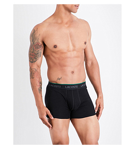 LACOSTE Pack of three cotton-jersey trunks (Black+grey