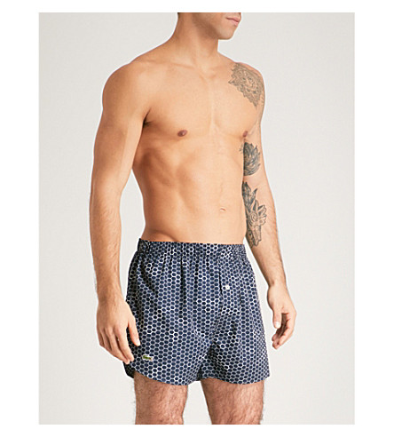 LACOSTE Honeycomb-pattern relaxed-fit cotton boxers (Dark+navy