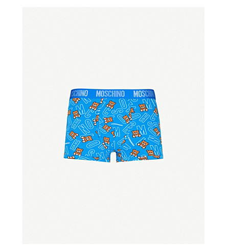 MOSCHINO Teddy-print slim-fit stretch-cotton boxers (Blue