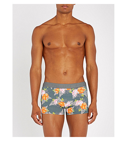 HOM Floral-pattern stretch-cotton trunks (Grey+orange