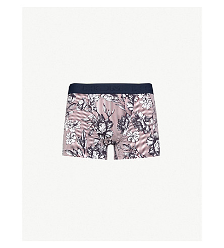 HOM Floral and stripe-pattern stretch-cotton trunks (Red+white