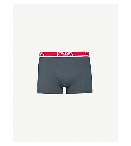 EMPORIO ARMANI Pack of three slim-fit stretch-cotton trunks (Black+pink+grey