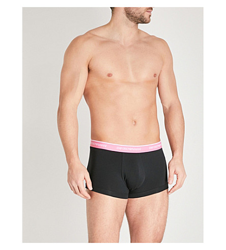 EMPORIO ARMANI Pack of three slim-fit stretch-cotton trunks (Black+pastel