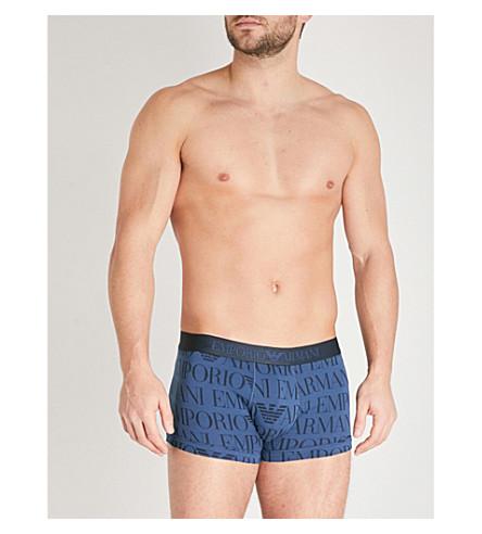 EMPORIO ARMANI Logo-print slim-fit stretch-cotton trunks (Navy