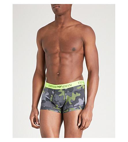EMPORIO ARMANI Camouflage-print slim-fit stretch-cotton boxers (Grey+neon