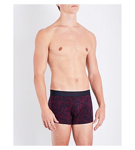 EMPORIO ARMANI Eagle logo stretch-cotton boxer trunks (Aubergine