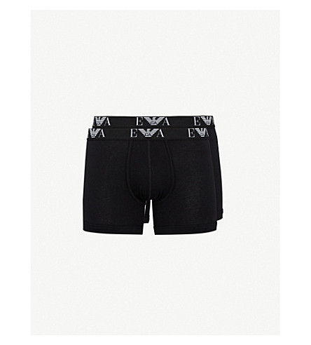 EMPORIO ARMANI Pack of two logo-detail regular-fit stretch-cotton boxers (Black