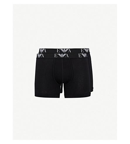 EMPORIO ARMANI 两件装徽标详细常规版型弹力棉四角内裤 (黑色