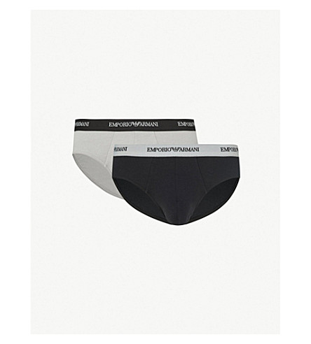 EMPORIO ARMANI Pack of two slim-fit stretch-cotton briefs (Black/grey