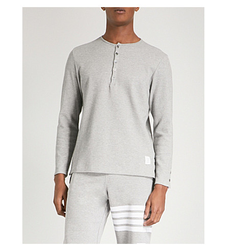 THOM BROWNE Henley round-neck cotton top (Grey
