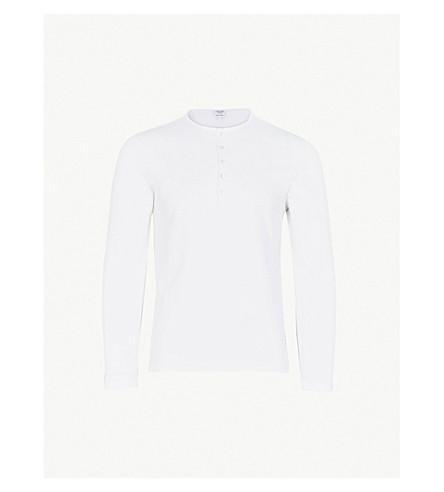 THOM BROWNE Henley round-neck cotton top (White