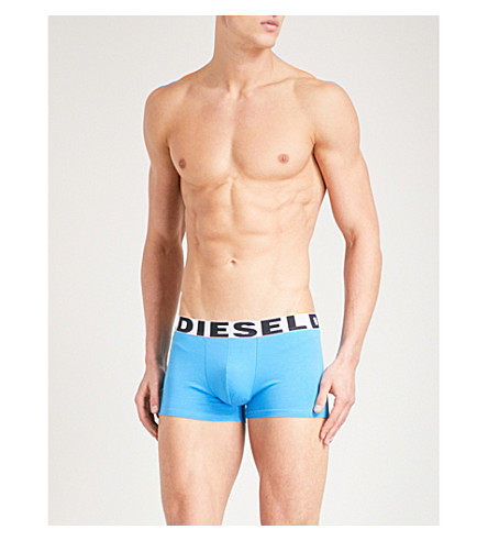 DIESEL Pack of three logo-detail slim-fit stretch-cotton trunks (Blue+grn