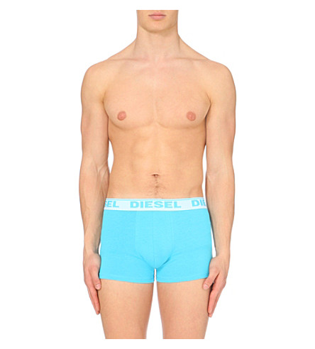 DIESEL Pack of three plain slim-fit stretch-cotton trunks (Turq/red/blue