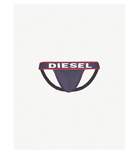 DIESEL Logo-print slim-fit denim jockstrap (Denim+red