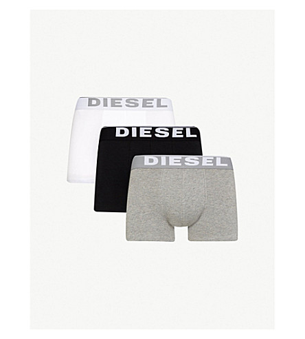 DIESEL Korey slim-fit stretch–cotton trunks (White/+grey/+black