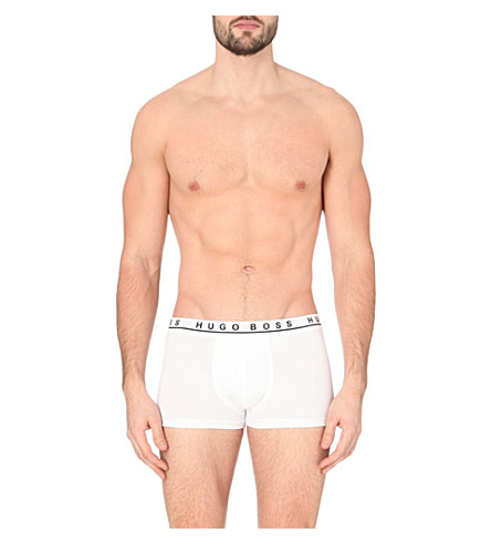 HUGO BOSS Pack of three stretch-cotton trunks (White