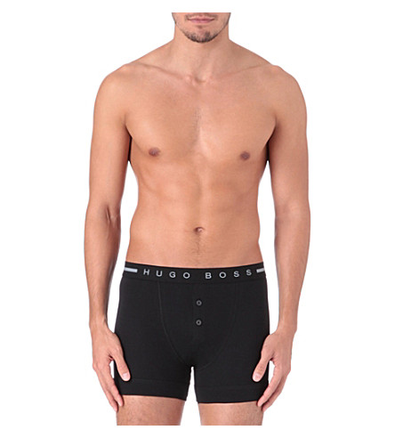 HUGO BOSS Cotton button-fly trunks (Black