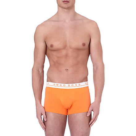 HUGO BOSS Three pack of stretch-cotton trunks (Orange blue