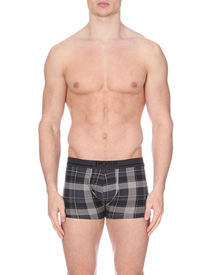 HUGO BOSS Check stretch-cotton trunks