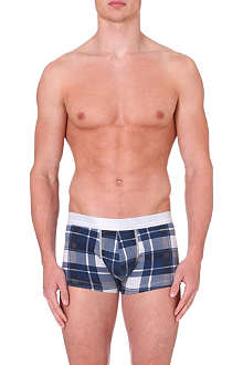 HUGO BOSS Check-print stretch-cotton trunks