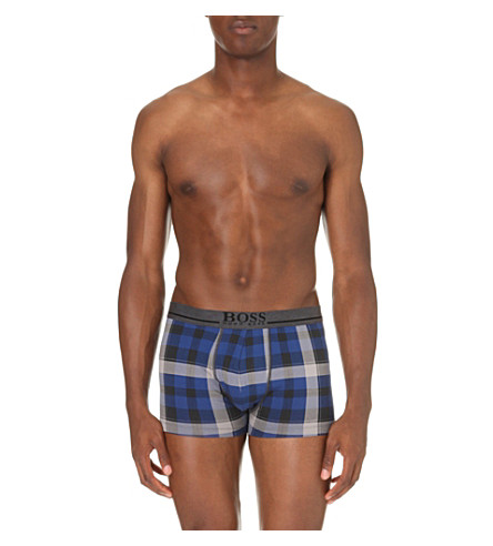 HUGO BOSS Patterned stretch-cotton trunks (Blue