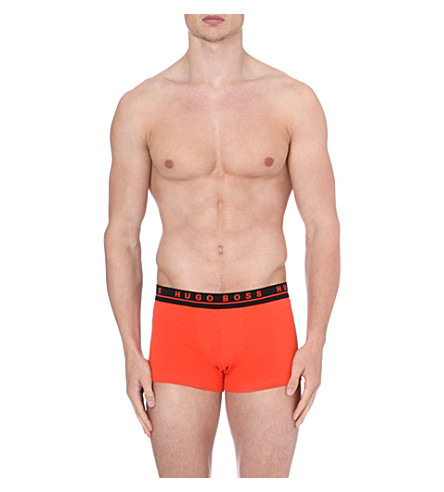 HUGO BOSS Three pack of stretch-cotton trunks (Orange/dk grey/blue