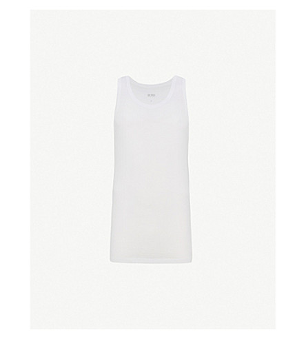 BOSS Regular-fit pack of three cotton-jersey tank tops (White