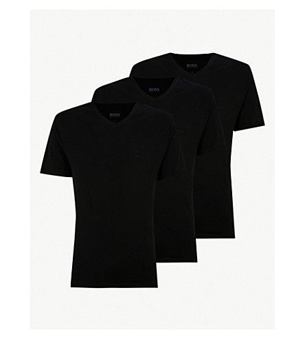 BOSS V-neck cotton-jersey T-shirts pack of three (Black