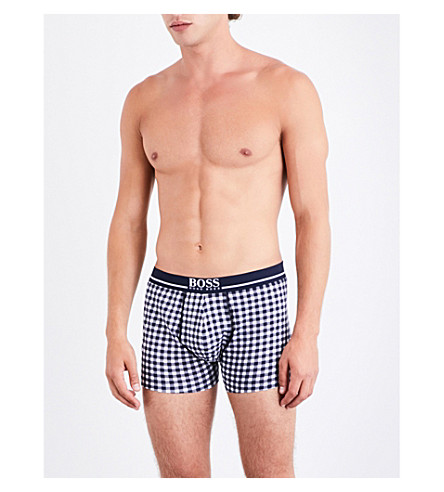 BOSS Check-print regular-fit stretch-cotton trunks (Nvy+wht