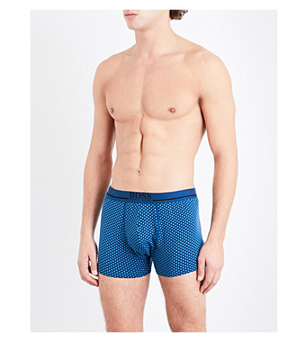 BOSS Printed regular-fit stretch-cotton trunks (Teal