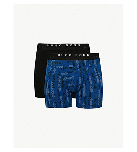 BOSS Pack of two slim-fit stretch-cotton boxer briefs (Navy+blue