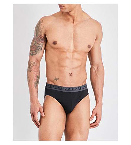 BOSS Pack of three regular-fit stretch-cotton briefs (Black