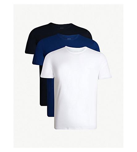BOSS 三件装圆领平纹针织棉 t恤衫 (白 + 蓝 + 阁)
