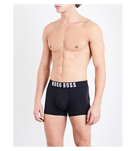BOSS Solid logo regular-fit jersey trunks (Black