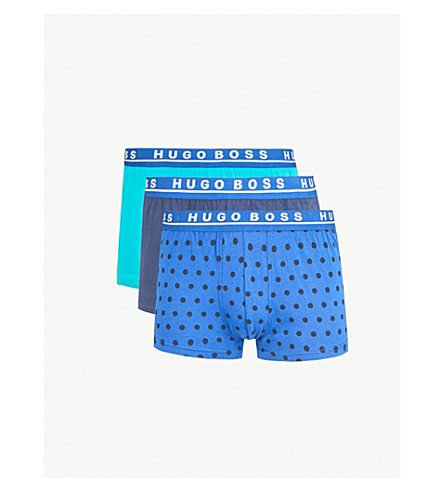 BOSS Pack of three patterned slim-fit stretch-cotton boxer trunks (Blue+navy+green
