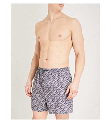 ZIMMERLI Metropolitan Tropicals relaxed-fit cotton boxer shorts (Midnight