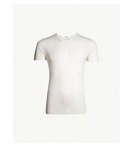 ZIMMERLI Crewneck wool and silk-blend pyjama T-shirt (Ecru