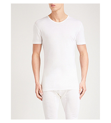 ZIMMERLI Crewneck wool and silk-blend pyjama T-shirt (Off+white